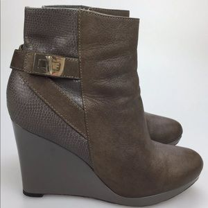 Cole Haan Martina Gray Wedge Ankle Boots